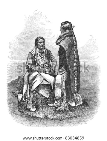 Native American Ute People of southern Colorado. Engraving by unknown artist, published in Harper's Monthly Magazine April 1876. - stock photo
