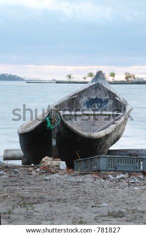native cayuco boat san blas islands panama  central america - stock photo