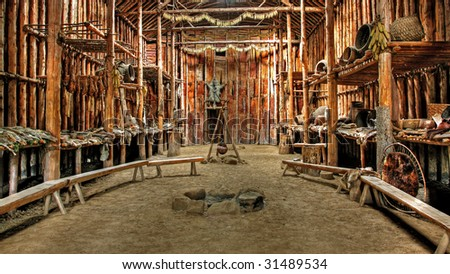 Native Indian ceremonial hut in Lake Crawford, Ontario - stock photo