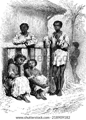 Natives of the Magdalena, vintage engraved illustration. Le Tour du Monde, Travel Journal, (1872).