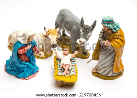 Nativity craft on white background - stock photo