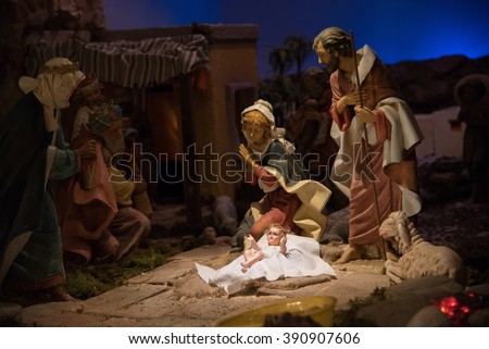 Nativity in the gloom - stock photo
