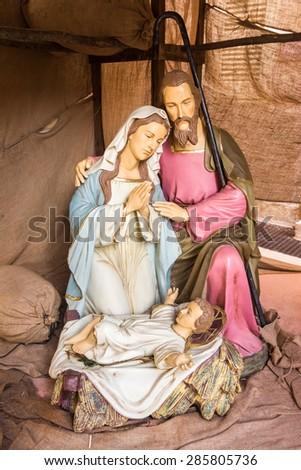 Nativity of Jesus statues from Malta, Christamas. - stock photo