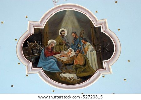 Nativity Scene, Adoration of the Shepards - stock photo