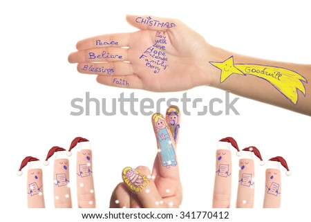 Nativity Scene and chorus Santa Claus drawn by a small child in his mother's hands, isolated on white background - stock photo