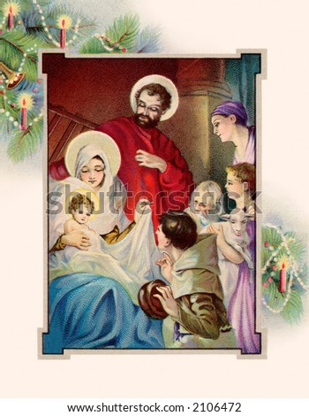 Nativity scene framed with Christmas tree boughs - a circa 1907 vintage illustration. - stock photo