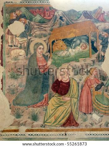 Nativity Scene, Fresco painting - stock photo