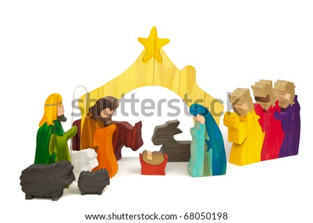 Nativity Scene in Stained Wood - stock photo