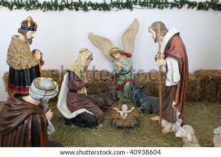 Nativity Scene in the Bethlehem Peace Center - stock photo