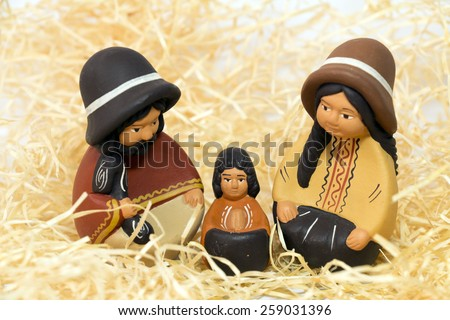 Nativity Scene isolated, baby Jesus, Joseph and Mary - stock photo