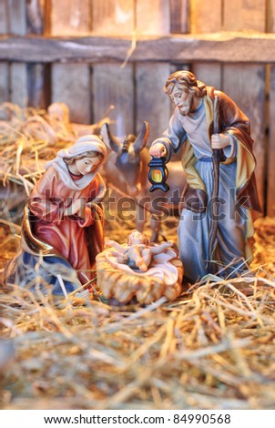 nativity scene; Jesus Christ, Mary and Josef - stock photo