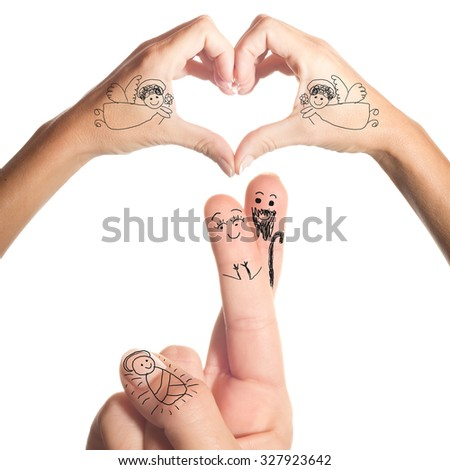 Nativity scene simple drawing in the fingers and hands isolated on white background - stock photo