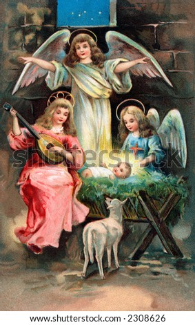 Nativity scene with angels surrounding the Christ child - an early 1900's vintage illustration - stock photo