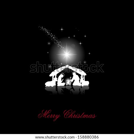 nativity scene with the Holy Family white silhouettes on a black background  - stock photo