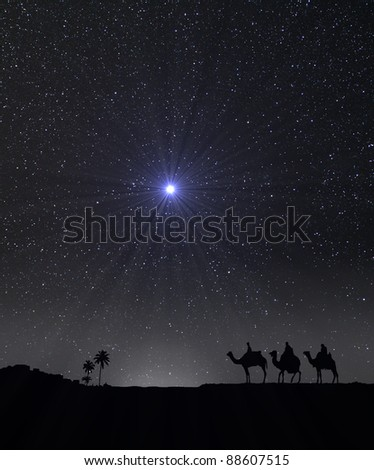 Nativity scene with 3 wise men and the Christmas star. - stock photo