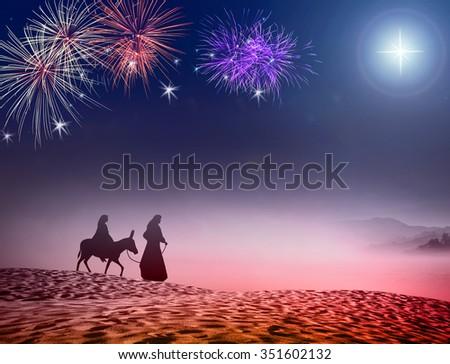Nativity story concept. God, Lord, Gift, Religion, Peace, Holiday, Xmas, Church, Glory, Family, Walk, Travel, Desert, Messiah, Amen, Night, Firework, Star, Born, Mercy, Gospel, Born, Baby, Light - stock photo