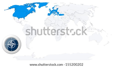 NATO members state highlighted on map of world with flag of NATO - stock photo