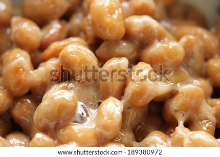 Natto (fermented soybeans.), a traditional Japanese food. - stock photo