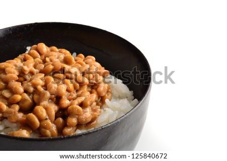 natto rice - stock photo