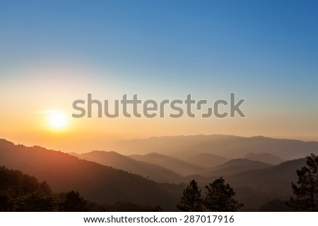 Natural aerial view of mountain during sunrise in northern of Thailand - stock photo
