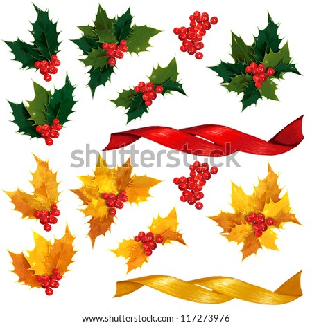 Natural and Gold holly leaves, berries and ribbon - stock photo