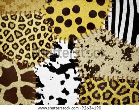 Natural animal fur with stitches - stock photo