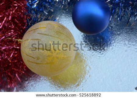 Natural background, Christmas tree decoration, lights, balls, Happy New Year