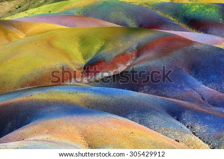 Natural background. Main sight of Mauritius island. Unusual volcanic formation - seven colored earths in Chamarel.