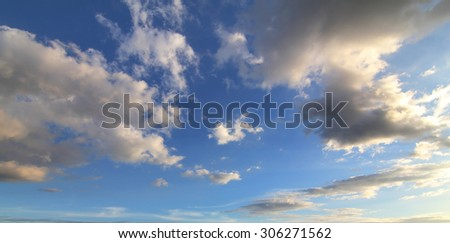 Natural background of blue sky and clouds - stock photo