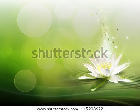natural background with a water lily - stock photo
