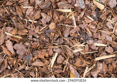 Natural bark used as a soil covering (compost) for mulch in the garden, wood chip background texture - stock photo