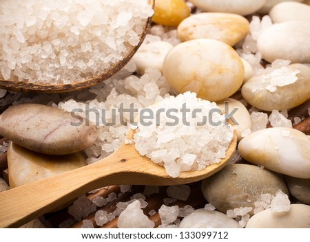 Natural bath salt, organic products. Spa stones.