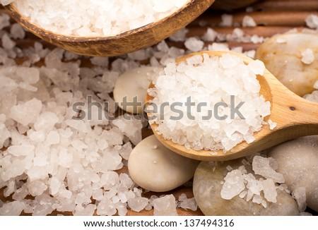 Natural bath salt, organic products. Spa stones. - stock photo