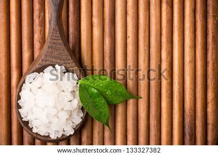 Natural bath salt wooden spoon, organic product. - stock photo