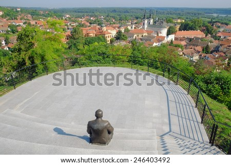 natural beauty and architecture of Sremski Karlovci from viewpoint sculpture of Dusko Trifunovic poet, Serbia - stock photo