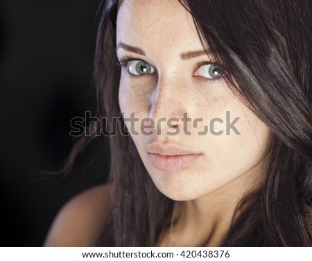 Natural beauty, girl with clean face  - stock photo