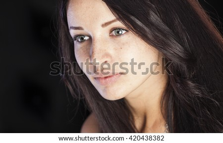 Natural beauty, girl with freckles and pimples - stock photo