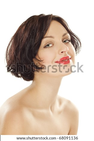 Natural beauty girl with good skin smiles on white background - stock photo