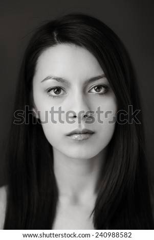 natural beauty headshot of young woman shot in the studio - stock photo