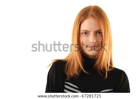 natural beauty - no make-up young woman isolated on white background - stock photo