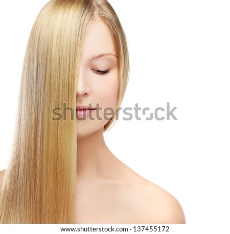 Natural blonde.Portrait beautiful girl  looking at camera..White background - stock photo