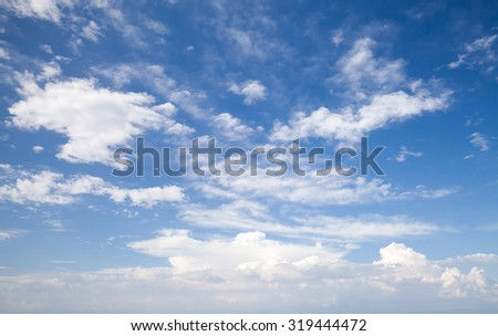 Natural blue cloudy sky. Background photo texture - stock photo