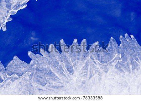 Natural blue ice on a frosty winter day