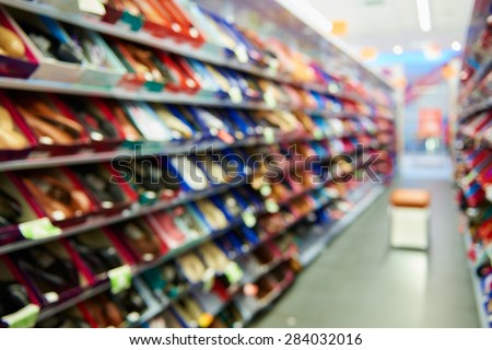 Natural bokeh shopping mall Shoe Store - stock photo