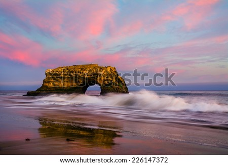 Natural Bridge in California at sunset - stock photo