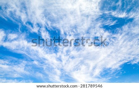 Natural bright blue cloudy sky background photo texture - stock photo