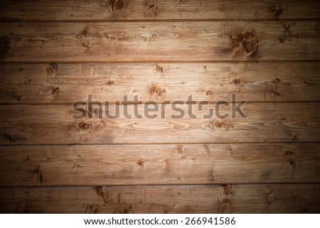 Natural brown wood board - texture. - stock photo