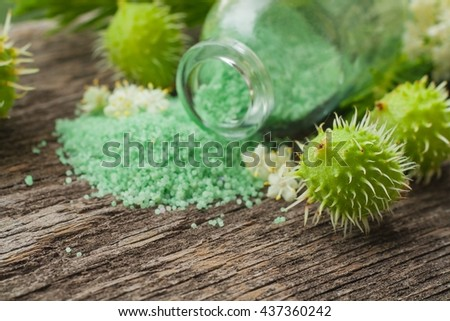 Natural care of a body . Fragrant salt for bathing . Small small bottles with salt. Relaxation after work of the house. A sauna for health. To take a bath .Aroma of the nature. For improvement of skin - stock photo