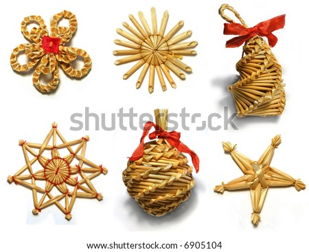 natural christmas decorations with red ribbons isolated on white background - stock photo