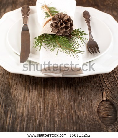 Natural Christmas table setting - stock photo